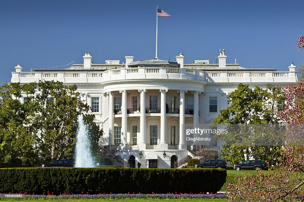The South Portico of the White House. Washington DC, USA. : Stock Photo