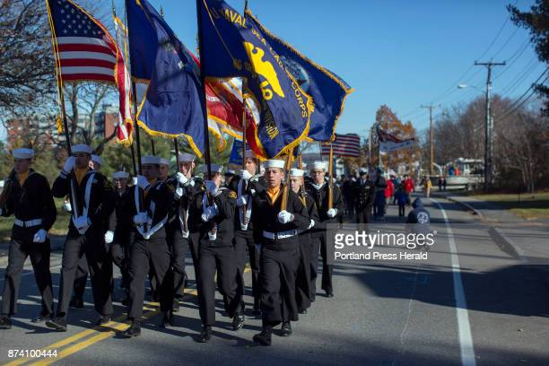 The South Portland Sea Cadet Corps color guard lead the second division of the Veterans Day parade down Broadway Street in South Portland The Rotary...