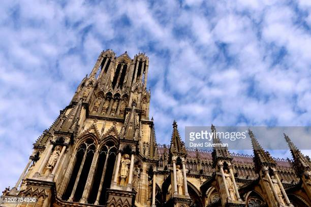 The south tower of Notre-Dame de Reims, a Roman Catholic cathedral built in the French Gothic architectural style and dedicated to the Virgin Mary,...