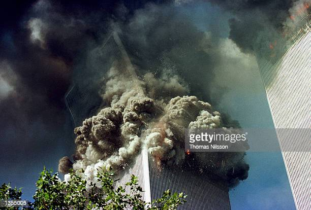 The south tower of the World Trade Center collapses September 11 2001 in New York City