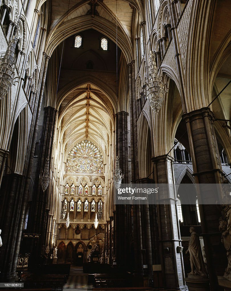 The South Transept, Westminster Abbey and the stained glass rose window, England. Gothic. from 1245 AD. London.