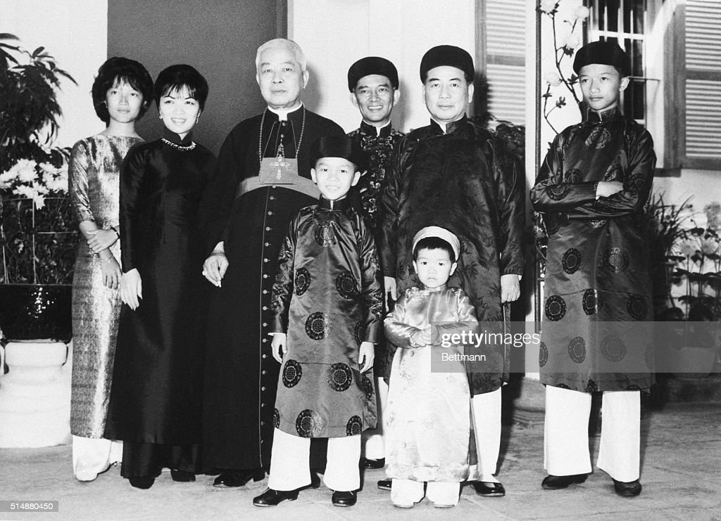 The South Vietnamese presidential family, (left to right) Ngo Dinh Le Thuy, 17, her mother, Mme. Ngo Dinh Nhu, Diem's brother, Archbishop Ngo Dinh Thuc, another brother, Ngo Dinh Nhu, head of secret police, President Ngo Dinh Diem, and Nhu's son, Ngo Di