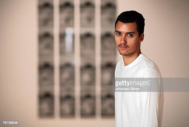 The SouthAfrican artist Robin Rhode poses at Haus der Kunst exhibition hall on September 14 2007 in Munich Germany Rhode's exhibition Walk Off which...