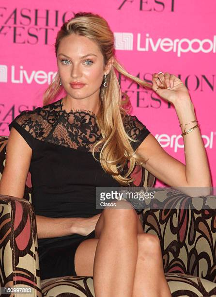The Southafrican model Candice Swanepoel talks during a press conference in the framework of the Liverpool Fashion Fest 2012 on August 29 2012 in...