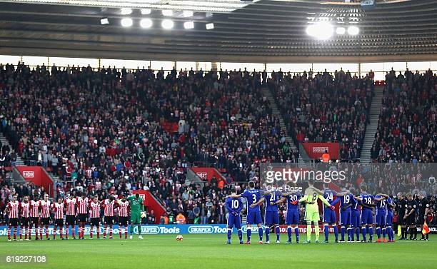 The Southampton and Chelsea teams take part in a minutes silence in honor of remembrance day prior to kick off during the Premier League match...