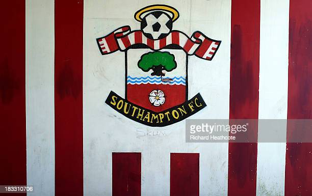 The Southampton club crest is seen prior to the Barclays Premier League match between Southampton and Swansea City at St Mary's Stadium on October 6...