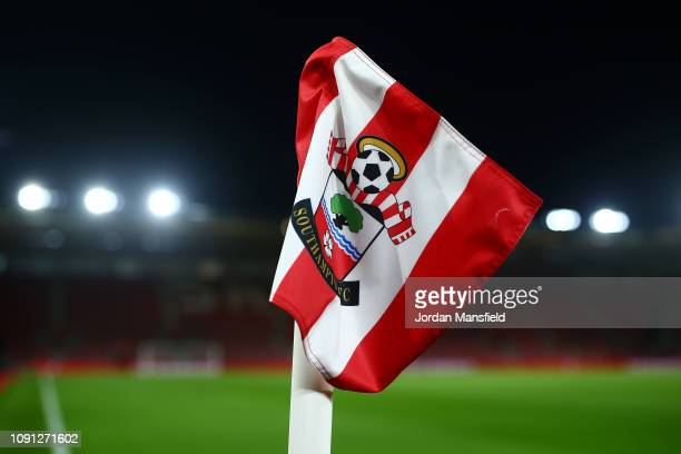 The Southampton FC badge is seen on a coner flag prior to the Premier League match between Southampton FC and Crystal Palace at St Mary's Stadium on...