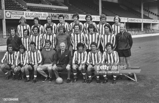 The Southampton FC League Division 1 football team at the start of the 1973-74 football season, UK, August 1973. From left to right Billy Beaney,...