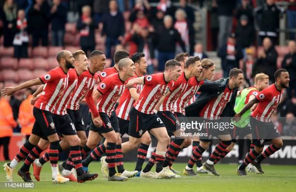 The Southampton team celebrate victory after the Premier League match between Southampton FC and Wolverhampton Wanderers at St Mary's Stadium on...