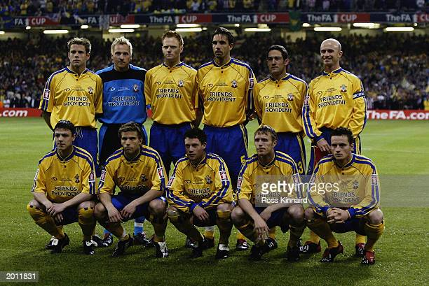 The Southampton team lineup for a photo before the FA Cup Final between Arsenal and Southampton on May 17 2003 at the Millennium Stadium in Cardiff...