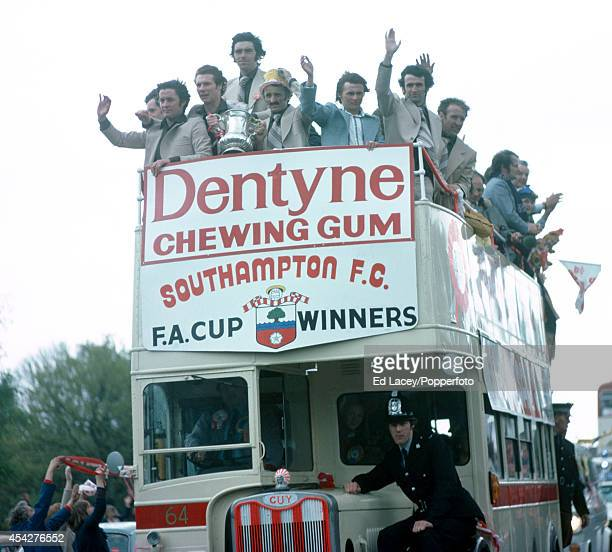 The Southampton team parade the FA Cup through the town on a doubledecker bus on 2nd May 1976 They defeated Manchester United 10 in the FA Cup Final...