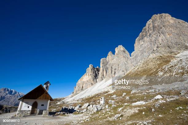 The SouthEast face of Drei Zinnen Tre Cime di Lavaredo in South Tyrol Alto Adige The Drei Zinnen are one of the icons of the european alps and a...