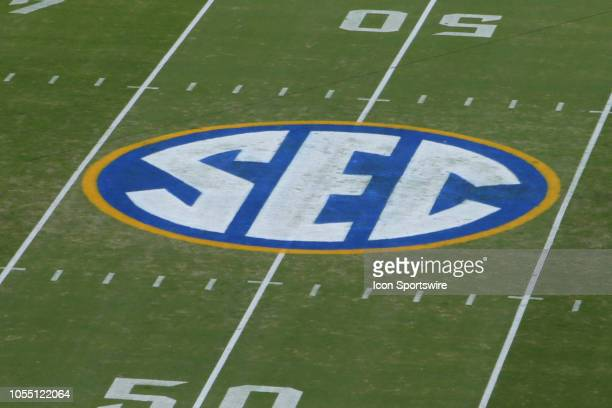 The Southeastern Conference logo during the game between the Florida Gators and the Georgia Bulldogs on October 27, 2018 at TIAA Bank Field in...