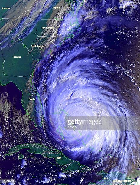 The southeastern portion of the eyewall in Hurricane Floyd passes over Abaco Island in the Bahamas, September 14, 1999. Monster Hurricane Floyd, one...