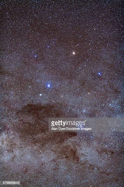 The Southern Cross and Coalsack Nebula in the constellation Crux, plus associated star clusters in and around Crux, such as NGC 4755.