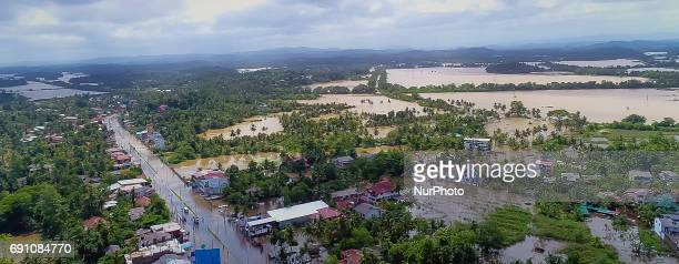 The southern expressway and the submerged houses near by are seen flooded near Godagama Matara southern part of Sri Lanka on Thursday 1 June 2017 The...