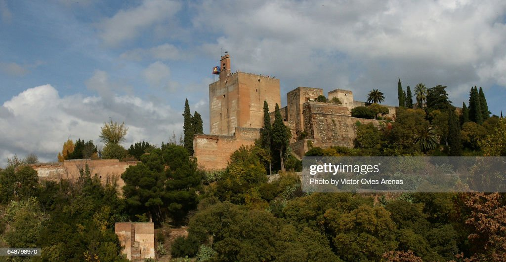 The southern face of the Alcazaba and the Alhambra forest from the Tower Bermeja viewpoint in Granada, Andalusia, Spain : Foto de stock