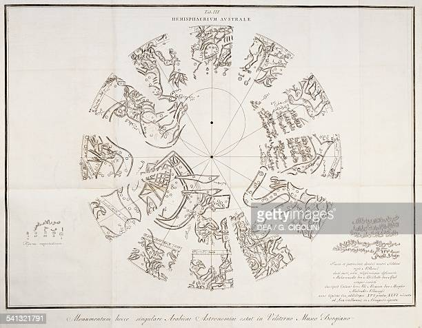 The Southern Hemisphere of the celestial vault and its constellations depicted by Cassair ben Abi Alcasem in 622 print taken from Globus caelestis...