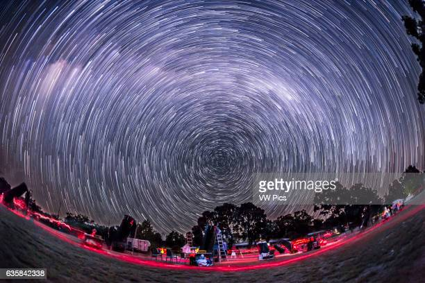 The southern hemisphere sky turning about the South Celestial Pole in April 2016 taken at OzSky star party looking south in a stack of 200 frames the...