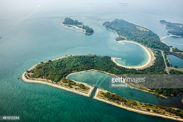 The Southern Islands of Kusu Island top left St John's Island top right Lazarus Island top center connected with reclaimed land to Seringat Island...