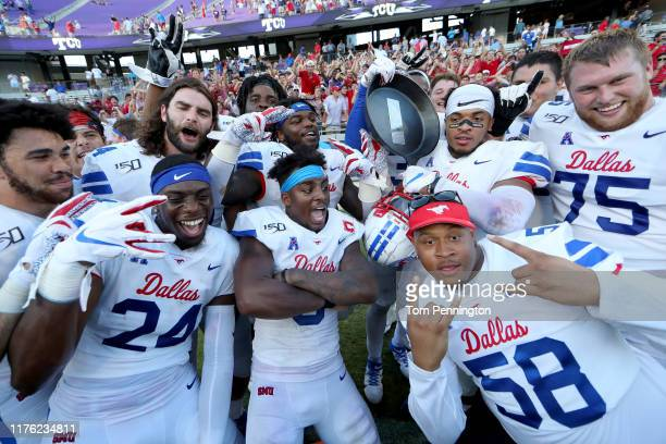 The Southern Methodist Mustangs celebrate beating the TCU Horned Frogs 4138 at Amon G Carter Stadium on September 21 2019 in Fort Worth Texas