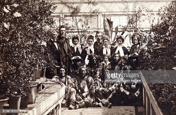 The Southern Plains delegation in the White House Conservatory during the Civil War on March 27 1863 The interpreter William Simpson Smith and the...