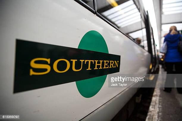 The Southern rail logo is seen on the side of a train at East Croydon station on October 18 2016 in London England Staff at Southern rail have begun...