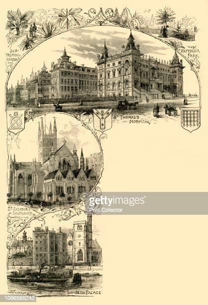 The Southern Suburbs', . Landmarks in Southwark and Lambeth, south London: Sub-tropical garden in Battersea Park; St Thomas' Hospital, St Saviour's ;...