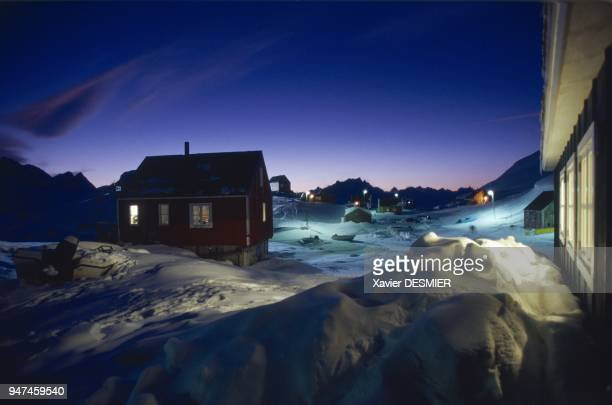 The southern winter twilight sets the sky aflame in Sermiligaq in March 2006 This village which is the northernmost in the region of Ammassalik has...