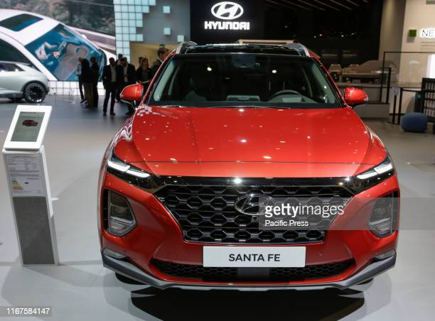 The South-Korean car manufacturer Hyundai displays the Hyundai Santa Fe SEVEN 2.2 CRDI SUV at the 2019 Internationale Automobil-Ausstellung .