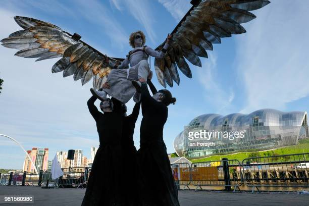 The Southpaw Dance Co perform Icarus during a street performance display during the opening event at the Great Exhibition of the North on June 22,...