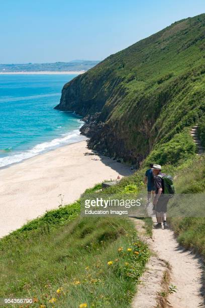 The southwest coast path near carbis bay, st ives, Cornwall, England, Britain, uk.