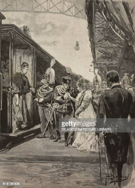 The sovereigns of Germany arriving at the station of Rome on the occasion of the silver wedding of Umberto I and Margherita of Savoy Italy engraving...