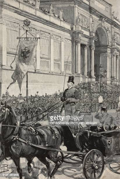 The sovereigns of Germany arriving in via Nazionale on the occasion of the silver wedding of Umberto I and Margherita of Savoy Rome Italy engraving...