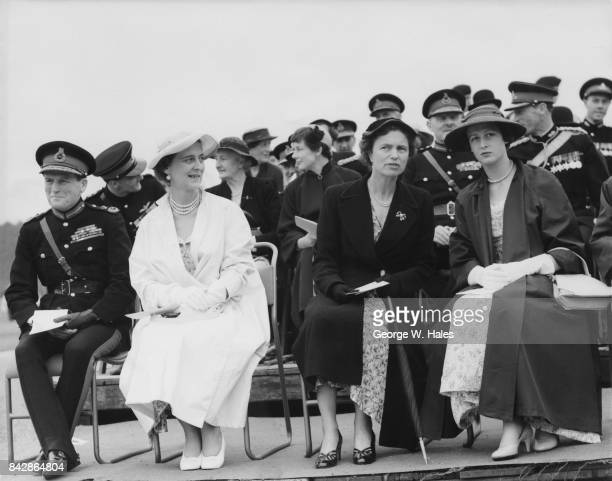 The Sovereign's Parade at the Royal Military Academy Sandhurst UK 5th August 1954 Watching are Field Marshal Sir John Harding Chief of the Imperial...