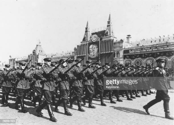 The Soviet Army marching during May Day celebrations