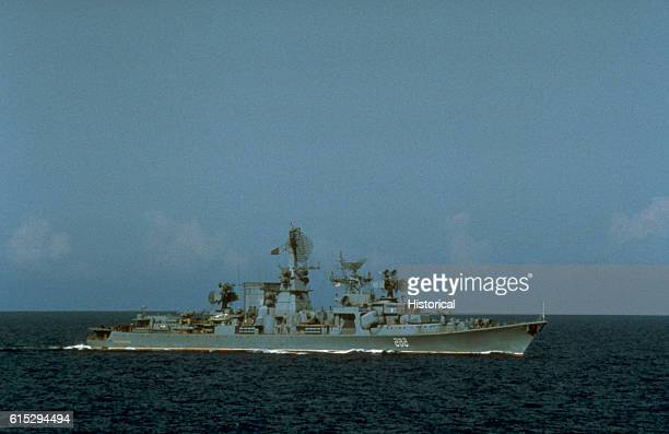 The Soviet guided missile cruiser Petropavlovsk shadows salvage operations for downed Korean Air Lines flight 007 . The commercial jet was shot down...