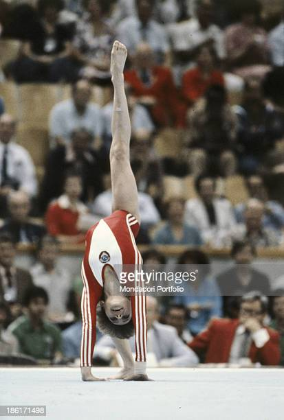 The soviet gymnast Yelena Davydova during an exercise at the Moscow Olympic games Moscow Russian Federation 1980
