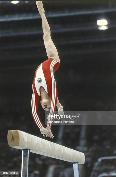 The soviet gymnast Yelena Davydova during an exercise at the Moscow Olympic game Moscow Russian Federation 1980
