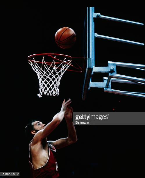 The Soviet Olympic basketball team won 5150 in the final game against the United States giving them the gold medal Here is Aleksander Belov scoring...