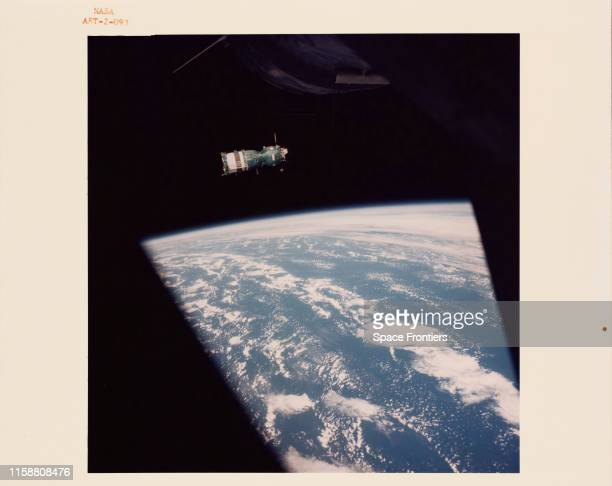 The Soviet Soyuz 19 spacecraft as seen from the US Apollo spacecraft during rendezvous in earth orbit for the joint US-USSR Apollo-Soyuz Test...