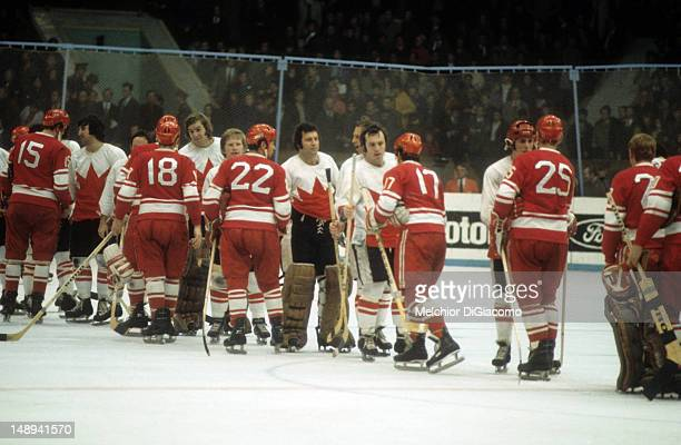 The Soviet Union and Canada shake hands after the Canadians defeated the Russians in Game 8 of the 1972 Summit Series on September 28 1972 at the...