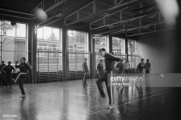 The Soviet World Cup football team training at Lymm Grammar School in Cheshire in preparation for their semifinal match against West Germany at...