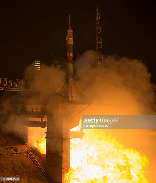 The Soyuz MS03 spacecraft launches from the Baikonur Cosmodrome with Expedition 50 crewmembers NASA astronaut Peggy Whitson Russian cosmonaut Oleg...