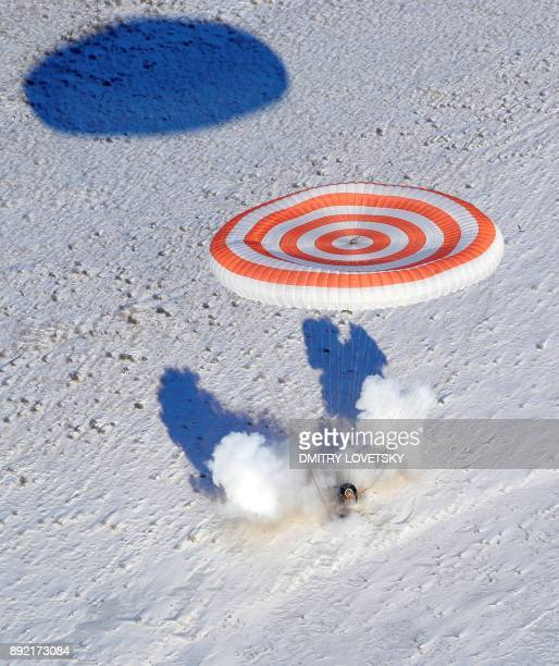 TOPSHOT The Soyuz MS05 space capsule carrying the International Space Station crew of NASA astronaut Randy Bresnik Russian cosmonaut Sergey...