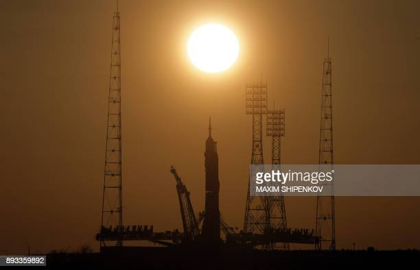 TOPSHOT The Soyuz MS07 spacecraft is mounted on the launch pad at the Russianleased Baikonur cosmodrome in Kazakhstan on December 15 2017 The launch...