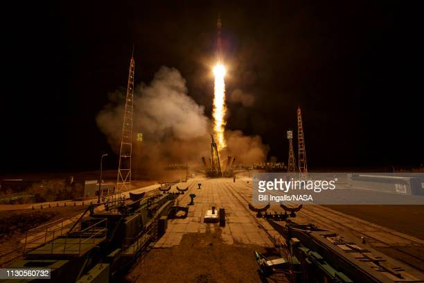 The Soyuz MS12 spacecraft is launched with Expedition 59 crewmembers Nick Hague and Christina Koch of NASA along with Alexey Ovchinin of Roscosmos...