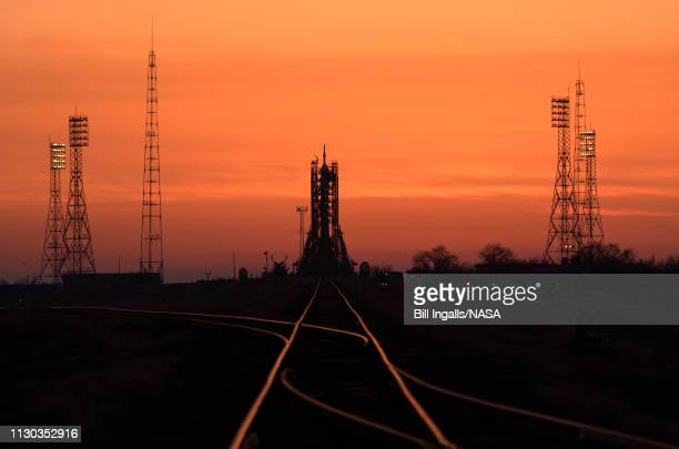 The Soyuz rocket is seen at dawn on launch site 1 of the Baikonur Cosmodrome Thursday March 14 2019 in Baikonur Kazakhstan Expedition 59 astronauts...