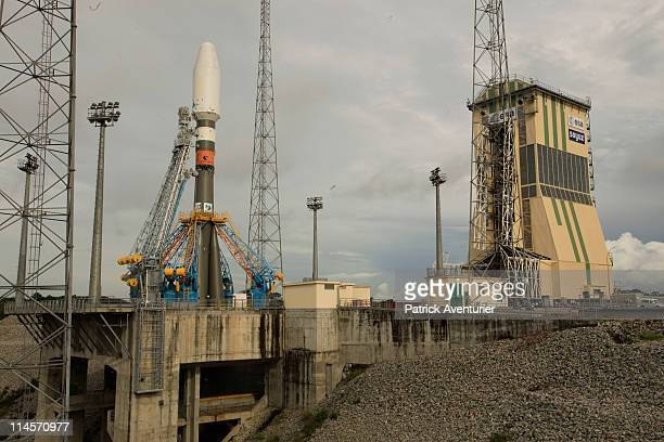 The Soyuz STA on lunch zone during the Dry Run simulation of Soyuz first flightin the new Russian Soyuz launch complex at the Guiana Space Center on...
