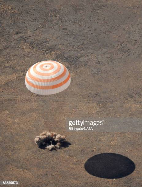 The Soyuz TMA13 spacecraft carrying Expedition 18 Commander Michael Fincke Flight Engineer Yury V Lonchakov and US space tourist Charles Simonyi...